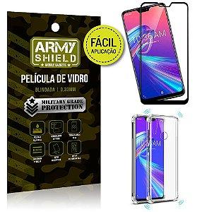 Kit Película 3D Fácil Aplicação Zenfone Max Pro M2 ZB631KL + Capa Anti Impacto - Armyshield
