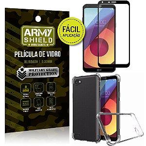 Kit Película 3D Fácil Aplicação LG Q6 - Q6 Plus Película 3D + Capa Anti Impacto - Armyshield