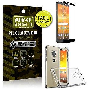 Kit Película 3D Fácil Aplicação Motorola Moto E5 Plus Película 3D + Capa Anti Impacto - Armyshield
