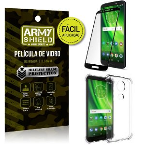 Kit Película 3D Fácil Aplicação Motorola Moto G6 Play Película 3D + Capa Anti Impacto - Armyshield