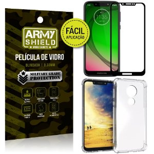 Kit Película 3D Fácil Aplicação Motorola Moto G7 Play Película 3D + Capa Anti Impacto - Armyshield