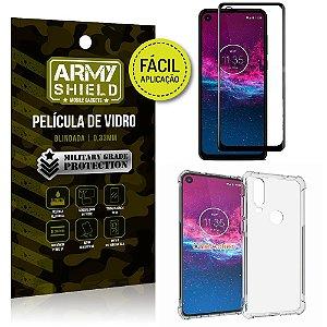 Kit Película 3D Fácil Aplicação Motorola Moto One Action + Capa Anti Impacto - Armyshield