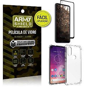 Kit Película 3D Fácil Aplicação Motorola Moto One Vision + Capa Anti Impacto - Armyshield