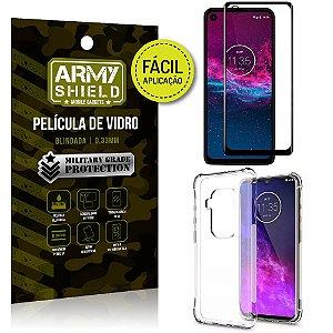 Kit Película 3D Fácil Aplicação Motorola Moto One Zoom Película 3D + Capa Anti Impacto - Armyshield