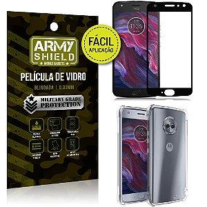 Kit Película 3D Fácil Aplicação Motorola Moto X4 Película 3D + Capa Anti Impacto - Armyshield