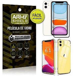 Kit Película 3D Fácil Aplicação Apple iPhone 11 6.1 Película 3D + Capa Anti Impacto - Armyshield