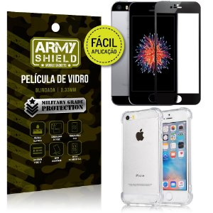 Kit Película 3D Fácil Aplicação Apple iPhone 5 - 5S - SE + Capa Anti Impacto - Armyshield