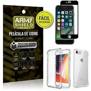 Kit Película 3D Fácil Aplicação Apple iPhone 7 Película 3D + Capa Anti Impacto - Armyshield