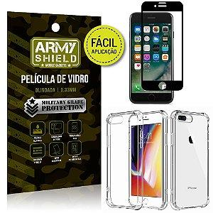 Kit Película 3D Fácil Aplicação Apple iPhone 7 Plus Película 3D + Capa Anti Impacto - Armyshield