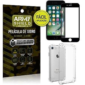 Kit Película 3D Fácil Aplicação Apple iPhone 8 Película 3D + Capa Anti Impacto - Armyshield