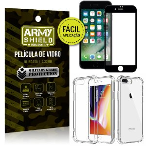 Kit Película 3D Fácil Aplicação Apple iPhone 8 Plus Película 3D + Capa Anti Impacto - Armyshield