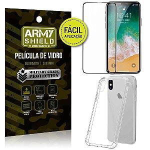 Kit Película 3D Fácil Aplicação Apple iPhone X Película 3D + Capa Anti Impacto - Armyshield