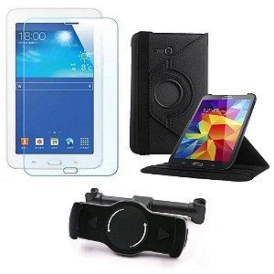 Kit Suporte Tablet Carro Galaxy Tab 3 7.0' Lite T110 + Película Vidro +Capa Giratória - Armyshield