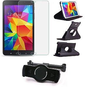 Kit Suporte Tablet Carro Galaxy Tab 4 7.0' T230 T231 + Película Vidro +Capa Giratória - Armyshield