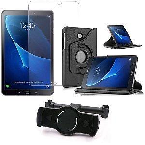 Kit Suporte Tablet Carro Galaxy Tab A 10.1' P585 + Película Vidro +Capa Giratória - Armyshield