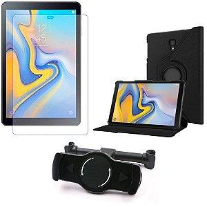 Kit Suporte Tablet Carro Galaxy Tab A 10.5' T590/T595 + Película Vidro +Capa Giratória - Armyshield