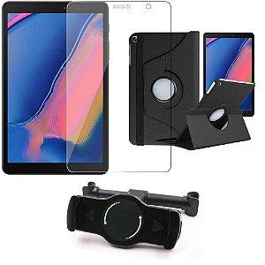 Kit Suporte Tablet Carro Galaxy Tab A S Pen 8.0' P205/P200 + Película Vidro +Capa Girat - Armyshield