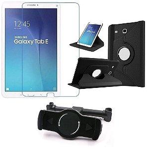 Kit Suporte Tablet Carro Galaxy Tab E 9.6' T560 T561 + Película Vidro +Capa Giratória - Armyshield