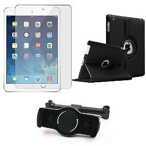 Kit Suporte Tablet Carro iPad 2 + Película Vidro +Capa Giratória - Armyshield