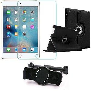 Kit Suporte Tablet Carro iPad 3 + Película Vidro +Capa Giratória - Armyshield