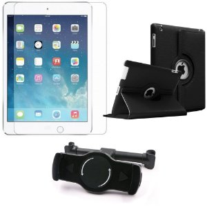 Kit Suporte Tablet Carro iPad 4 + Película Vidro +Capa Giratória - Armyshield