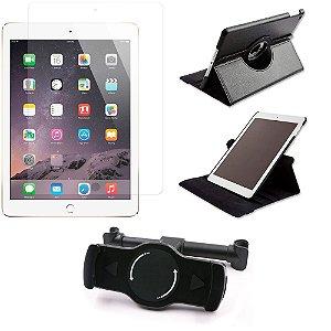 Kit Suporte Tablet Carro iPad Air + Película Vidro +Capa Giratória - Armyshield