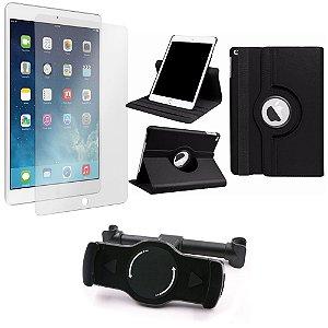 Kit Suporte Tablet Carro iPad Air 2 + Película Vidro +Capa Giratória - Armyshield