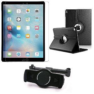 Kit Suporte Tablet Carro iPad Pro 9.7' + Película Vidro +Capa Giratória - Armyshield
