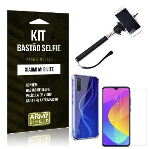 Kit Bastão de Selfie Mi 9 Lite Bastão + Capinha Anti Impacto + Película de Vidro - Armyshield