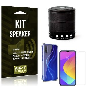 Kit Mini Speaker Mi 9 Lite Caixa de Som Bluetooth + Capinha Anti Impacto + Película - Armyshield
