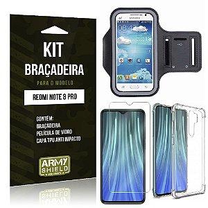 Kit Braçadeira Redmi Note 8 Pro Braçadeira + Capinha Anti Impacto + Película de Vidro - Armyshield