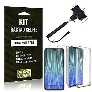 Kit Bastão de Selfie Redmi Note 8 Pro Bastão + Capinha Anti Impacto + Película de Vidro - Armyshield