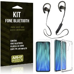 Kit Fone Bluetooth Sport 907 Redmi Note 8 Pro Fone + Capa Anti Impacto + Película Vidro - Armyshield