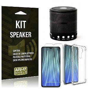 Kit Mini Speaker Redmi Note 8 Pro Caixa de Som Bluetooth + Capa Anti Impacto + Película - Armyshield