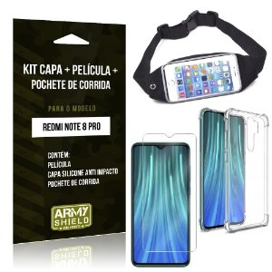 Kit Pochete Redmi Note 8 Pro Pochete + Capinha Anti Impacto + Película de Vidro - Armyshield
