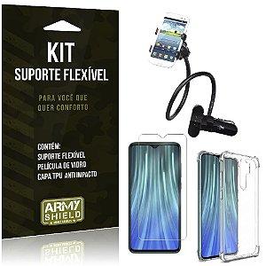 Kit Suporte Flexível Redmi Note 8 Pro Suporte + Capinha Anti Impacto + Película Vidro - Armyshield