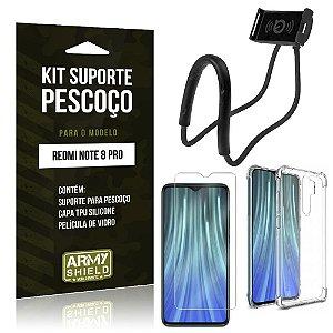 Kit Suporte Pescoço Redmi Note 8 Pro Suporte + Capinha Anti Impacto + Película de Vidro - Armyshield