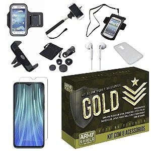Kit Gold Redmi Note 8 Pro com 8 Acessórios - Armyshield