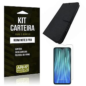Kit Capinha Carteira Redmi Note 8 Pro Capinha Carteira + Película de Vidro - Armyshield