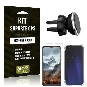 Kit Suporte Veicular Magnético Moto One Macro Suporte + Capinha Anti Impacto + Película de Vidro - Armyshield