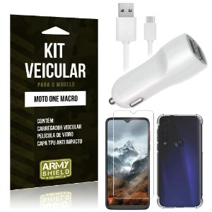 Kit Carregador Veicular Tipo C Moto One Macro + Capa Anti Impacto + Película Vidro - Armyshield