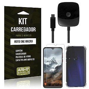 Kit Carregador Tipo C Moto One Macro + Capinha Anti Impacto + Película de Vidro - Armyshield