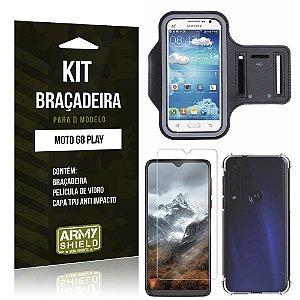 Kit Braçadeira Moto G8 Play Braçadeira + Capinha Anti Impacto + Película de Vidro - Armyshield