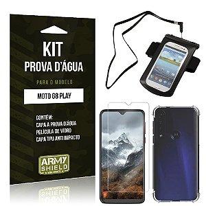 Kit Prova D'água Moto G8 Play Capinha a Prova D'água + Capinha Anti Impacto + Película - Armyshield