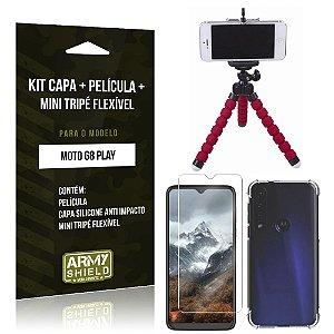 Kit Mini Tripé Flexível Moto G8 Play Tripé + Capinha Anti Impacto + Película de Vidro - Armyshield