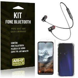 Kit Fone Bluetooth Sport 901 Moto G8 Play Fone + Capinha Anti Impacto + Película Vidro - Armyshield
