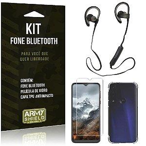 Kit Fone Bluetooth Sport 907 Moto G8 Play Fone + Capinha Anti Impacto + Película Vidro - Armyshield