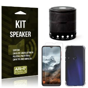 Kit Mini Speaker Moto G8 Play Caixa de Som Bluetooth + Capinha Anti Impacto + Película - Armyshield
