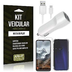 Kit Carregador Veicular Tipo C Moto G8 Play + Capinha Anti Impacto + Película Vidro - Armyshield