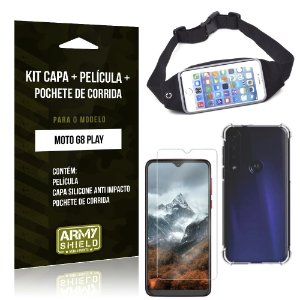 Kit Pochete Moto G8 Play Pochete + Capinha Anti Impacto + Película de Vidro - Armyshield